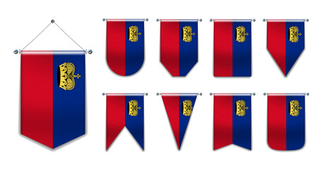 Set hanging flags of the LIECHTENSTAIN with textile texture. Diversity shapes of the national flag country. Vertical Template Pennant for background, banner, web site, logo,award, achievement,festival