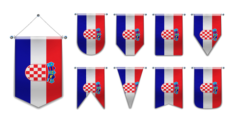Set hanging flags of the Croatia with textile texture. Diversity shapes of the national flag country. Vertical Template Pennant for background, banner, web site, logo,award, achievement, festival. EPS