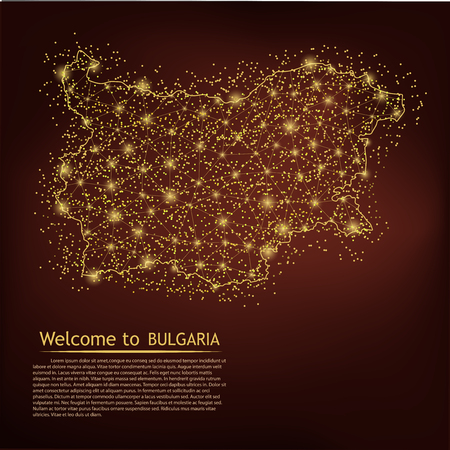 BULGARIA map. Abstract mash line and point scales on dark geometric background. Wire frame 3D Mesh polygonal network line, design sphere, dot and structure. Vector illustration. EPS 10 Vektorové ilustrace