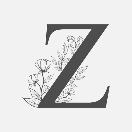 Uppercase Letter Z with flowers and branches. Vector flowered monogram or logo. Hand Drawn concept. Botanical design branding. Composition of letter and flowers for wedding card, invitations, brand. Vectores
