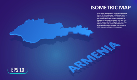 Isometric map of the ARMENIA. Stylized flat map of the country on blue background. Modern isometric 3d location map with place for text or description. 3D concept for infographic. Vector EPS 10 Ilustração