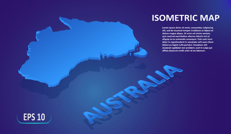 Isometric map of the AUSTRALIA. Stylized flat map of the country on blue background. Modern isometric 3d location map with place for text or description. 3D concept for infographic. Vector EPS 10