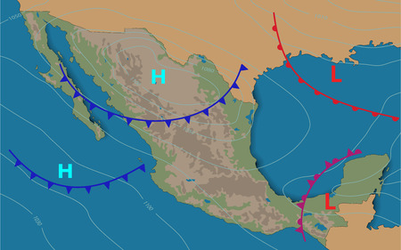 Mexico.Weather map of the Mexico. Meteorological forecast. Realistic and Editable synoptic map of the country showing isobars and weather fronts. Vector illustration. EPS 10