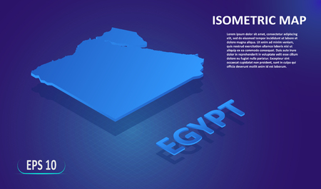 Isometric map of the EGYPT. Stylized flat map of the country on blue background. Modern isometric 3d location map with place for text or description. 3D concept for infographic. Vector illustration EPS 10