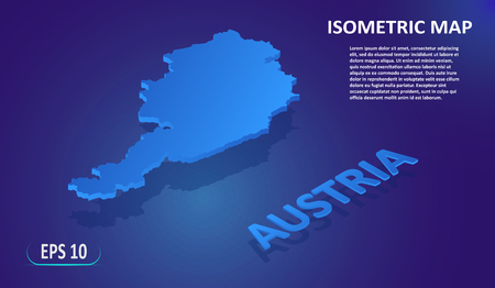 Isometric map of the AUSTRIA. Stylized flat map of the country on blue background. Modern isometric 3d location map with place for text or description. 3D concept for infographic. Vector EPS 10