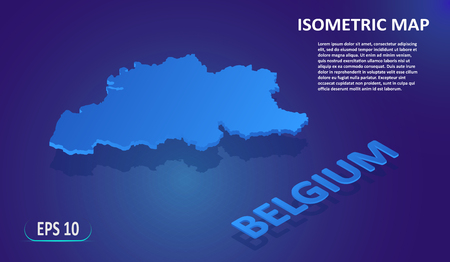 Isometric map of the BELGIUM. Stylized flat map of the country on blue background. Modern isometric 3d location map with place for text or description. 3D concept for infographic. Vector EPS 10