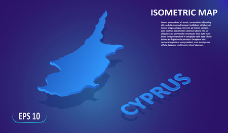 Isometric map of the CYPRUS. Stylized flat map of the country on blue background. Modern isometric 3d location map with place for text or description. 3D concept for infographic. Vector EPS 10