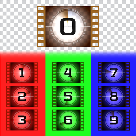 Creative frames countdown to the start numbers. Old film movie timer count. Retro cinema filmstrip count down slides with circle sections timer isolated on grunge background. Colorful vector set.