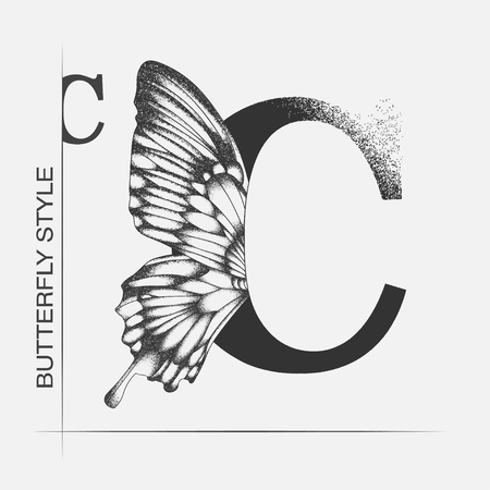 Letter C with butterfly silhouette. Monarch wing butterfly logo template isolated on white background. Calligraphic hand drawn lettering design. Alphabet concept. Monogram vector illustration. EPS 10