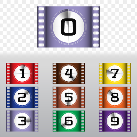 Creative movie countdown numbers colorful vector set. Timer frames counting to the start of the film. Retro cinema filmstrip count down slides with circle sections timer isolated on grunge background.