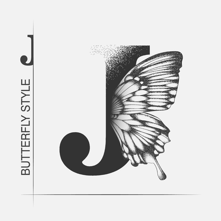 Letter J with butterfly silhouette. Monarch wing butterfly logo template isolated on white background. Calligraphic hand drawn lettering design. Alphabet concept. Monogram vector illustration. EPS 10 Stock fotó