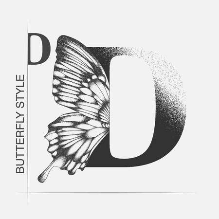 Letter D with butterfly silhouette. Monarch wing butterfly logo template isolated on white background. Calligraphic hand drawn lettering design. Alphabet concept. Monogram vector illustration. EPS 10