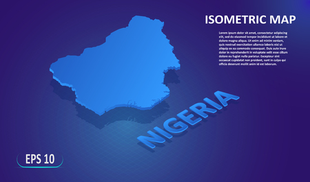 Isometric map of the NIGERIA. Stylized flat map of the country on blue background. Modern isometric 3d location map with place for text or description. 3D concept for infographic. Vector illustration EPS 10