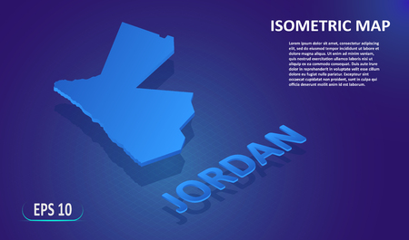 Isometric map of the JORDAN. Stylized flat map of the country on blue background. Modern isometric 3d location map with place for text or description. 3D concept for infographic. Vector illustration EPS 10