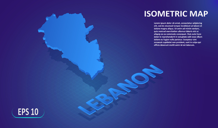 Isometric map of the LEBANON. Stylized flat map of the country on blue background. Modern isometric 3d location map with place for text or description. 3D concept for infographic. Vector illustration EPS 10 Ilustração