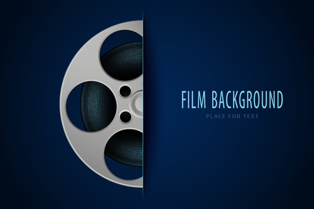 Movie and film modern background with place for your text. Film stripe reel design element for backdrop, brochure, leaflet, publication. Cinema poster template. Vector illustration. EPS 10