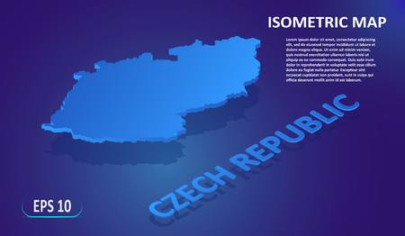 Isometric map of the CZECH REPUBLIC. Stylized flat map of the country on blue background. Modern isometric 3d location map with place for text or description. 3D concept for infographic. EPS 10