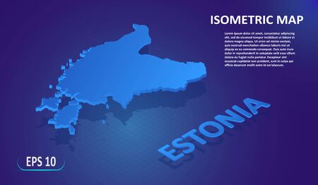 Isometric map of the ESTONIA. Stylized flat map of the country on blue background. Modern isometric 3d location map with place for text or description. 3D concept for infographic. EPS 10
