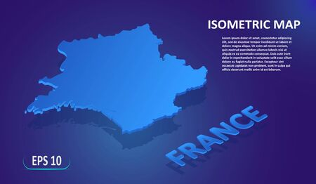 Isometric map of the FRANCE. Stylized flat map of the country on blue background. Modern isometric 3d location map with place for text or description. 3D concept for infographic. EPS 10 Ilustração
