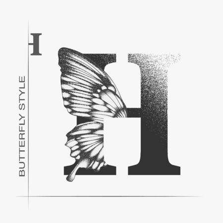 Letter H with butterfly silhouette. Monarch wing butterfly logo template isolated on white background. Calligraphic hand drawn lettering design. Alphabet concept. Monogram vector illustration Vettoriali