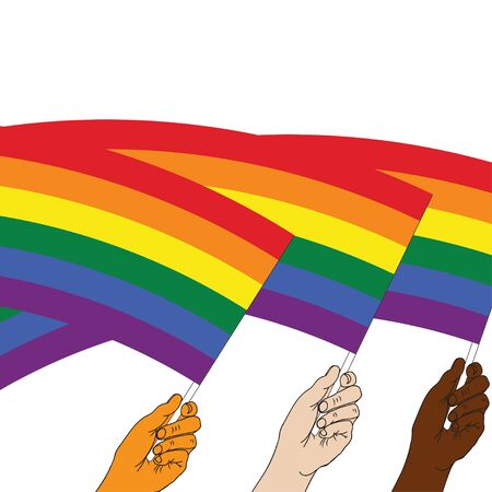 Three hands holding and raising LGBT pride flag. Multicolored peace flag movement. Rainbow symbol of LGBT community. Gay pride parade month. Happy pride day banner. Vector illustration