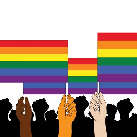 Three hands holding LGBT flag.Rainbow symbol of LGBT community include of lesbian, gay, bisexual, transgender. Gay pride parade month. Multicolored peace flag movement. Flat icon. Vector illustration