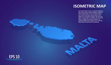 Isometric map of the MALTA. Stylized flat map of the country on blue background. Modern isometric 3d location map with place for text or description. 3D concept for infographic. Vector EPS 10 일러스트