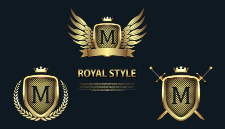 Set of modern heraldic shields with crowns and initial letter M isolated on black background. 3D letter monogram different shapes in golden style. Design elements for logo, label, emblem, sign, icon