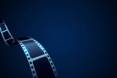 Fondo de cine de marco de rollo de tira de película con lugar para texto. Cartel, cartel o volante del festival de cine de vector. Plantilla de tira de película de cine de carrete de diseño de arte. Concepto de entretenimiento y tiempo de película. Ilustración de vector