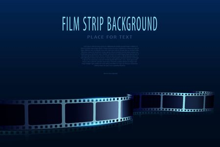 Modern film strips in waveform. Cinema vector poster design template. 3d flyer or poster festival isolated on blue background. Movie time background. Cinematography concept of film industry Stock Illustratie