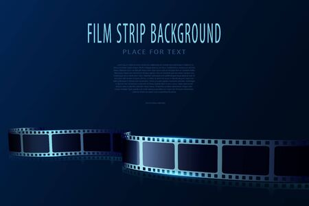Real film strips in waveform. Cinema vector poster design template. 3d flyer or poster festival isolated on blue background. Movie time background. Cinematography concept of film industry
