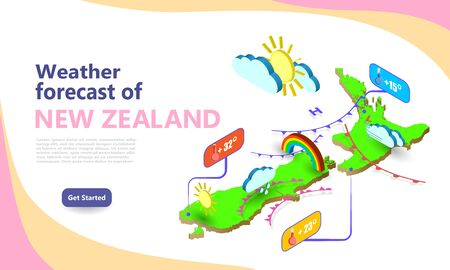 Weather forecast map of NEW ZEALAND. Isometric set icons location on country. Vector widgets layout of a meteorological application. Illustration of meteo pictograms for web, graphic, infographic.