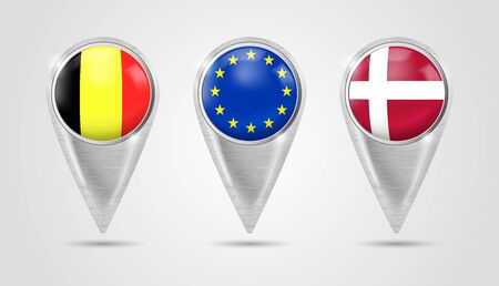 Set of metal pointers for a map with the national Europe flags in the button. GPS location symbol. Map pointer icon. Navigation pins. Web location point, pointer 3d arrow mark. Marker sign. Stock Illustratie