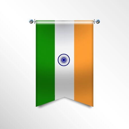 Flag of INDIA with texture. National banner Flag Hanging on a Silver Metallic Poles. Vertical 3D Pennant template isolated on a white background.Realistic waving flag triangle. Vector illustration