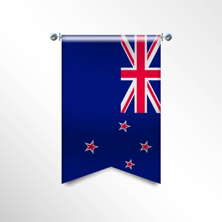 Flag of NEW ZEALAND with texture. Vector banner National Flag Hanging on a Silver Metallic Poles. Vertical 3D Pennant template isolated on a white background. Realistic waving flag triangle.