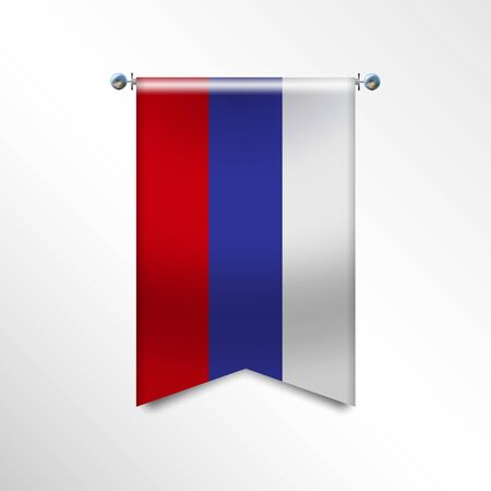 Flag of RUSSIA with texture. Realistic vector banner Hanging on a Silver Metallic Poles.Triangle flag hanging. Vertical russian icon template isolated on a white background.National flag concept. Stock Illustratie