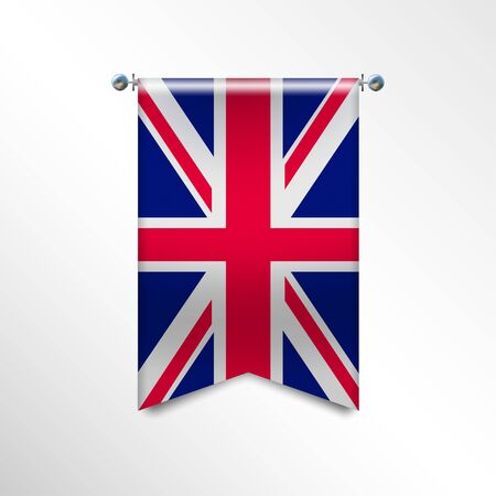 Flag of United Kingdom with texture. Great Britain vector banner Flag or pennant, Hanging on a Silver Metallic Poles. Vertical English flag template isolated on a white background. Vector illustration