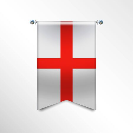 Flag of ENGLAND with texture. National banner Flag Hanging on a Silver Metallic Poles. Vertical 3D Pennant template isolated on a white background.Realistic waving flag triangle. Vector illustration