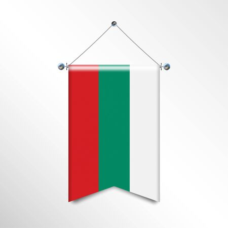The national flag of the BULGARIA with textile texture. Triangle flag hanging on a pole. Vertical austrian icon flag for background, banner, web site. Official sign of the country of the EC