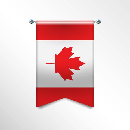 Flag of CANADA with texture. National banner Flag Hanging on a Silver Metallic Poles. Vertical 3D Pennant template isolated on a white background. Realistic waving flag triangle. Vector illustration