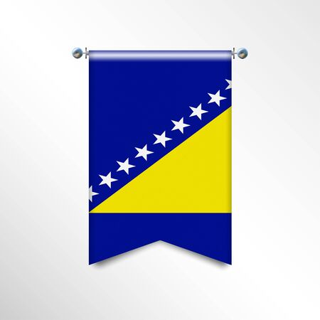 The national flag of the Bosnia Herzegovina with texture. Triangle flag hanging on a pole. Vertical austrian icon flag for background, banner, web site. Official sign of the country of the EC Stock Illustratie