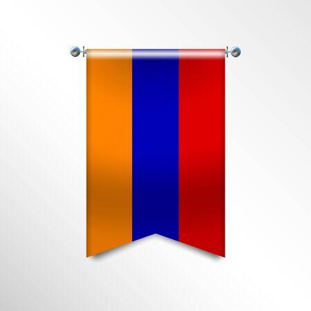 Flag of ARMENIA with texture. National banner Flag Hanging on a Silver Metallic Poles. Vertical 3D Pennant template isolated on a white background. Realistic waving flag triangle. Vector illustration Stock Illustratie