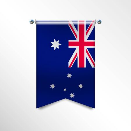 Flag of AUSTRALIA with texture. National banner Flag Hanging on a Silver Metallic Poles. Vertical 3D Pennant template isolated on a white background.Realistic waving flag triangle.Vector illustration