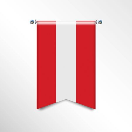 Flag of AUSTRIA with texture. Realistic banner Hanging on a Silver Metallic Poles. Triangle flag hanging. Vertical austrian icon template isolated on a white background. National flag concept. Stock Illustratie