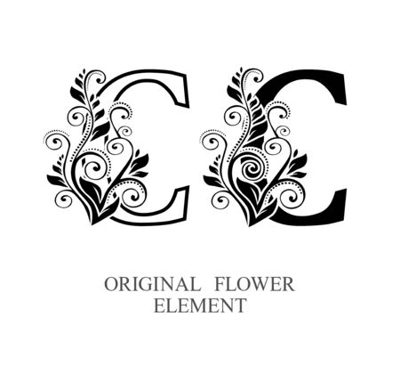 Elegant initial letters C in two color variations with botanical element. Vector letters logo design template set. Alphabet label sign for company branding and identity.Unique concept type as logotype