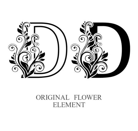 Elegant initial letters D in two color variations with botanical element. Vector letters logo design template set. Alphabet label sign for company branding and identity.Unique concept type as logotype Foto de archivo - 129729622