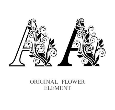 Elegant initial letters A in two color variations with botanical element. Vector letters logo design template set. Alphabet label sign for company branding and identity.Unique concept type as logotype Foto de archivo - 129729620
