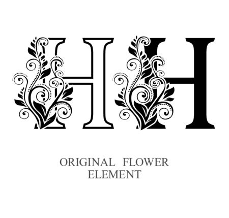 Elegant initial letters H in two color variations with botanical element. Vector letters logo design template set. Alphabet label sign for company branding and identity.Unique concept type as logotype Foto de archivo - 129729626