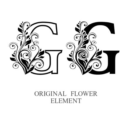 Elegant initial letters G in two color variations with botanical element. Vector letters logo design template set. Alphabet label sign for company branding and identity.Unique concept type as logotype Foto de archivo - 129729625