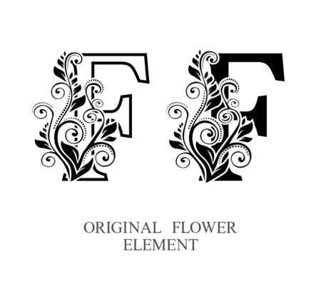 Elegant initial letters F in two color variations with botanical element. Vector letters logo design template set. Alphabet label sign for company branding and identity.Unique concept type as logotype Foto de archivo - 129729631